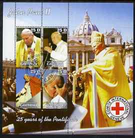 Gambia 2003 Pope John Paul II sheetlet containing 4 values with Red Cross Logo, fine cto used