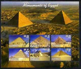 Gambia 2003 Monuments of Egypt (Pyramids) perf sheetlet containing 6 values, fine cto used