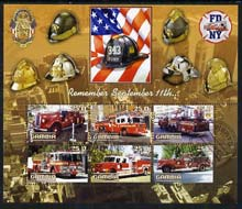 Gambia 2003 Fire Engines - Remember Sept 11th perf sheetlet containing 6 values, fine cto used