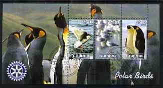 Gambia 2003 Polar Birds perf sheetlet containing 3 values with Rotary logo, fine cto used