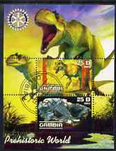 Gambia 2003 Prehistoric World perf sheetlet containing 2 values with Rotary logo, fine cto used