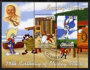 Gambia 2003 Looney Tunes - 75th Birthday of Mickey Mouse perf sheetlet containing 2 values, fine cto used