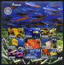 Gambia 2003 Ocean Life perf sheetlet containing 9 values with Rotary logo, fine cto used
