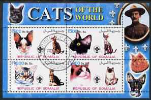 Somalia 2002 Domestic Cats of the World perf sheetlet #01 containing 4 values each with Scout Logo, fine cto used
