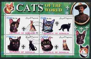 Somalia 2002 Domestic Cats of the World perf sheetlet #02 containing 4 values each with Scout Logo, fine cto used