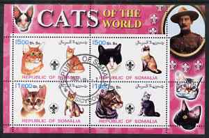 Somalia 2002 Domestic Cats of the World perf sheetlet #03 containing 4 values each with Scout Logo, fine cto used