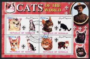 Somalia 2002 Domestic Cats of the World perf sheetlet #04 containing 4 values each with Scout Logo, fine cto used