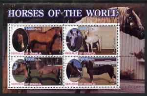 Somalia 2002 Horses of the World perf sheetlet #2 containing 4 values, fine cto used