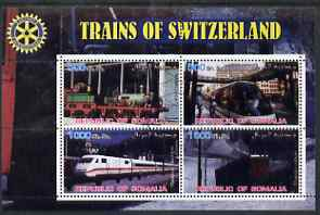 Somalia 2002 Trains of Switzerland perf sheetlet containing 4 values with Rotary Logo, fine cto used