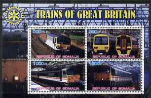 Somalia 2002 Trains of Great Britain #1 perf sheetlet containing 4 values with Rotary Logo, fine cto used