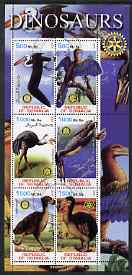 Somalia 2002 Dinosaurs (Birds) perf sheetlet #5 containing six values each with Rotary Logo, fine cto used