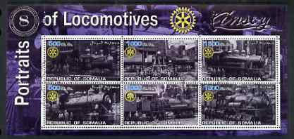 Somalia 2002 Portraits of Locomotives #1 perf sheetlet containing six values each with Rotary Logo, fine cto used