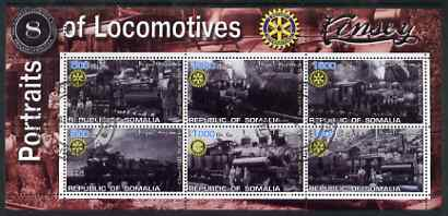 Somalia 2002 Portraits of Locomotives #3 perf sheetlet containing six values each with Rotary Logo, fine cto used