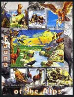 Kyrgyzstan 2004 Fauna of the World - Alps perf sheetlet containing 6 values cto used