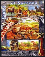 Kyrgyzstan 2004 Fauna of the World - Savanna #2 perf sheetlet containing 6 values cto used