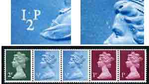 Great Britain 1971 Machin multi-value coil (2p,1/2p,1/2p,1p,1p) with constant variety 'white spot between 1 and P on first 1/2p' and 'background retouch infront of forehead on 2nd 1/2p' (ex G1 coil roll 5) unmounted mint