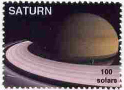 Planet Saturn (Fantasy) 100 solars perf label for inter-galactic mail unmounted mint on ungummed paper