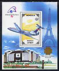 Mongolia 1989 'Philexfrance 89' Stamp Exhibition (1st issue) perf m/sheet (Tupolev) unmounted mint, SG MS 2020