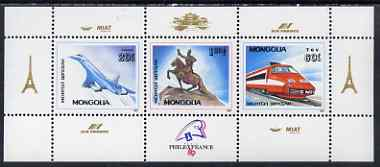 Mongolia 1989 'Philexfrance 89' Stamp Exhibition (2nd issue) perf m/sheet (Concorde,TGV Train, Statue) unmounted mint, SG MS 2034