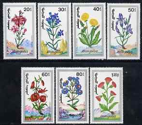 Mongolia 1991 Flowers perf set of 7 values unmounted mint, SG 2210-16