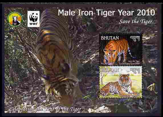 Bhutan 2010 WWF - Chinese New Year - Year of the Tiger perf sheetlet containing 2 values unmounted mint
