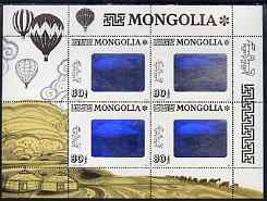 Mongolia 1993 Airship Flight (Hologram) perf m/sheet containing block of 4 unmounted mint, SG 2415
