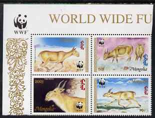Mongolia 1995 WWF - The Saiga perf set of 4 in se-tenant block unmounted mint, SG 2497a
