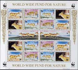 Mongolia 1995 WWF - The Saiga perf sheet of 6 containing 4 sets of 4 se-tenant blocks unmounted mint, as SG 2497a