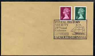 Postmark - Great Britain 1973 cover for Postal History Society 29th Conference at Falmouth with illustrated (Tall Ship) cancel