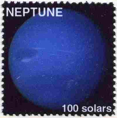 Planet Neptune (Fantasy) 100 solars perf label for inter-galactic mail unmounted mint on ungummed paper