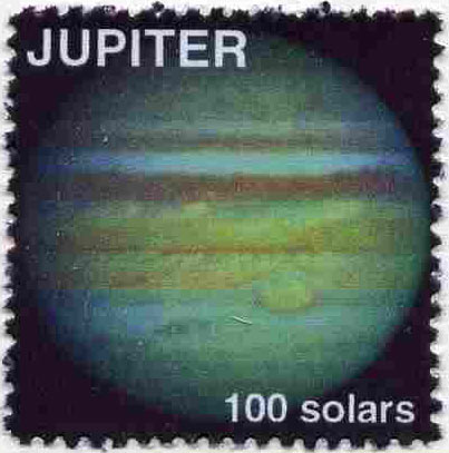 Planet Jupiter (Fantasy) 100 solars perf label for inter-galactic mail unmounted mint on ungummed paper