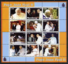 Mordovia Republic 2003 Pope John Paul II perf sheetlet #05 containing complete set of 12 values (inscribed Pope Joan Paul II) unmounted mint