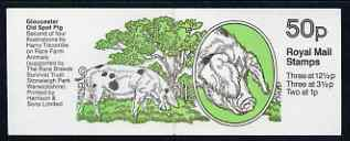 Booklet - Great Britain 1982-83 Rare Farm Animals #2 (Gloucester Old Spot Pig) 50p booklet complete, SG FB24 (showing incorrect rate 200g = 37p)