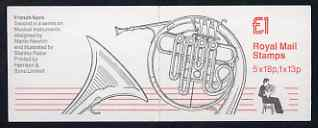 Booklet - Great Britain 1986-87 Musical Instruments #2 (French Horn) \A31 booklet complete, SG FH6