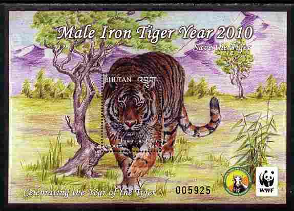 Bhutan 2010 WWF - Chinese New Year - Year of the Tiger perf s/sheet unmounted mint