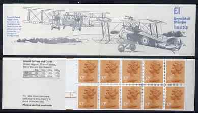 Booklet - Great Britain 1979-81 Military Aircraft #2 (Sopwith Camel & Vickers Vimy) �1.00 folded booklet with margin at left SG FH2A