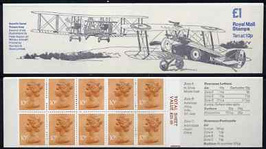 Booklet - Great Britain 1979-81 Military Aircraft #2 (Sopwith Camel & Vickers Vimy) �1.00 folded booklet with margin at right SG FH2B