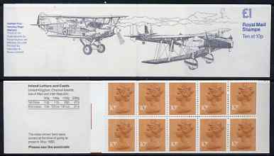 Booklet - Great Britain 1979-81 Military Aircraft #3 (Hawker Fury & HP Heyford) �1.00 folded booklet with margin at left SG FH3A