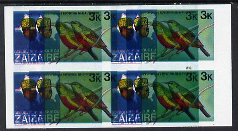 Zaire 1979 River Expedition 3k Sunbird superb imperf proof block of 4 with entire design doubled, extra impression 5mm away (as SG 953) unmounted mint