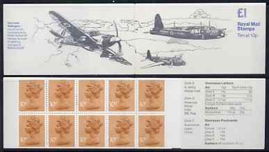 Booklet - Great Britain 1979-81 Military Aircraft #4 (Hurricane & Wellington) �1.00 folded booklet with margin at right SG FH4B