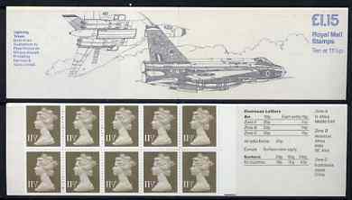Booklet - Great Britain 1979-81 Military Aircraft #6 (Lightning & Vulcan) �1.15 folded booklet with margin at right SG FI2B