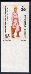 Uruguay 1988 Centenary of Fire Service 26p (Fireman of 1900) imperf marginal single mnh, as SG 1935
