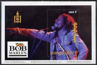 Mongolia 1998 Bob Marley perf m/sheet unmounted mint