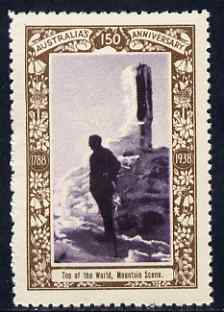 Australia 1938 Top of the World, Mountain Scene Poster Stamp from Australia's 150th Anniversary set, unmounted mint