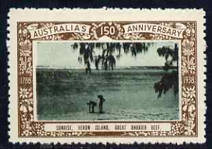 Australia 1938 Sunrise over the Great Barrier Reef Poster Stamp from Australias 150th Anniversary set, unmounted mint, stamps on coral