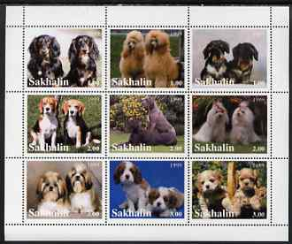 Sakhalin Isle 1999 Dogs perf sheetlet containing 9 values unmounted mint