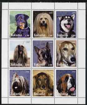 Sakha (Yakutia) Republic 1999 Dogs perf sheetlet containing 9 values unmounted mint