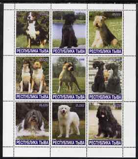 Touva 1999 Dogs #08 perf sheetlet containing set of 9 values unmounted mint