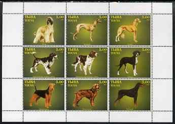 Touva 1999 Dogs #09 perf sheetlet containing set of 9 values unmounted mint