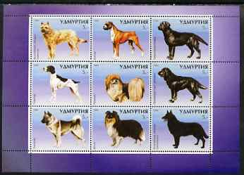 Udmurtia Republic 1999 Dogs perf sheetlet containing set of 9 values unmounted mint